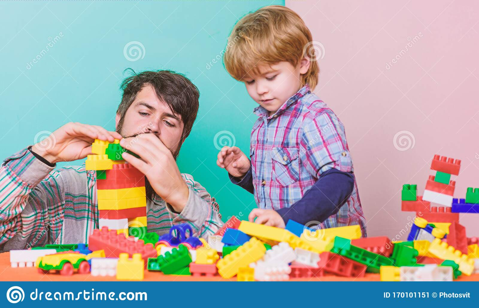 Building With Colorful Constructor Love Child Development Father And Son Play Game Small Boy With Dad Playing Stock Image Image Of Bricks Kids 170101151