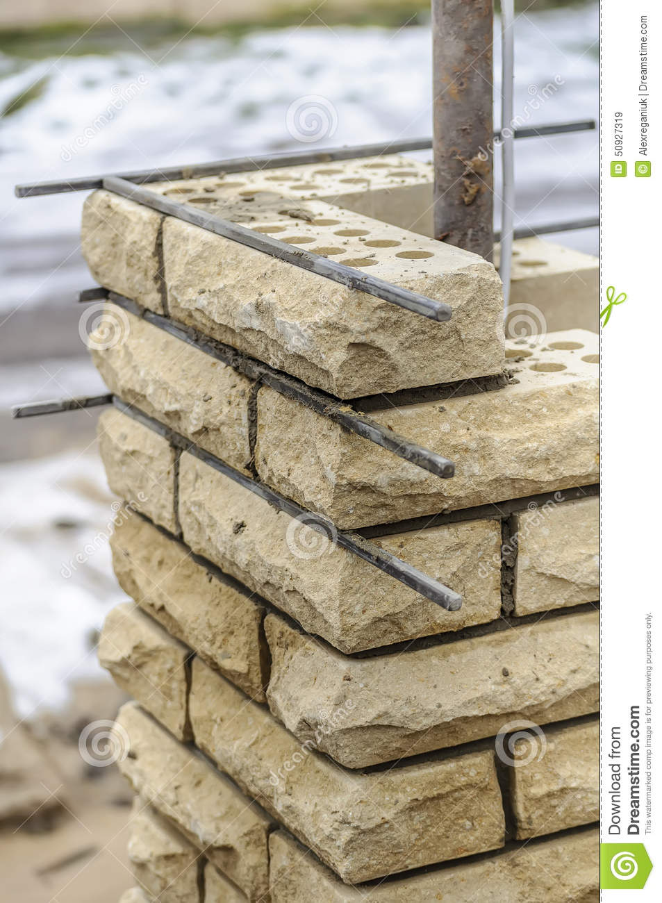 Building column from brick stock photo image 50927319 for How to build a house on pillars