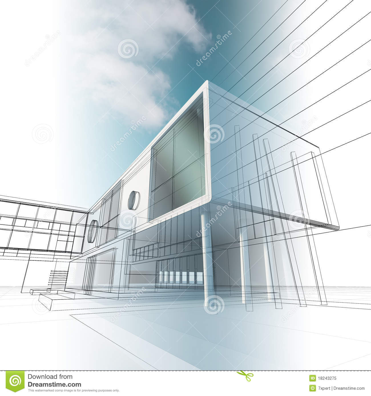 Building Concept Drawing Royalty Free Stock Photo Image
