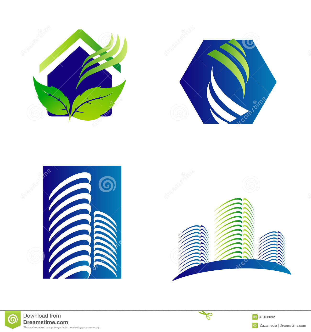 Building construction architecture company logo set stock for Architecture company