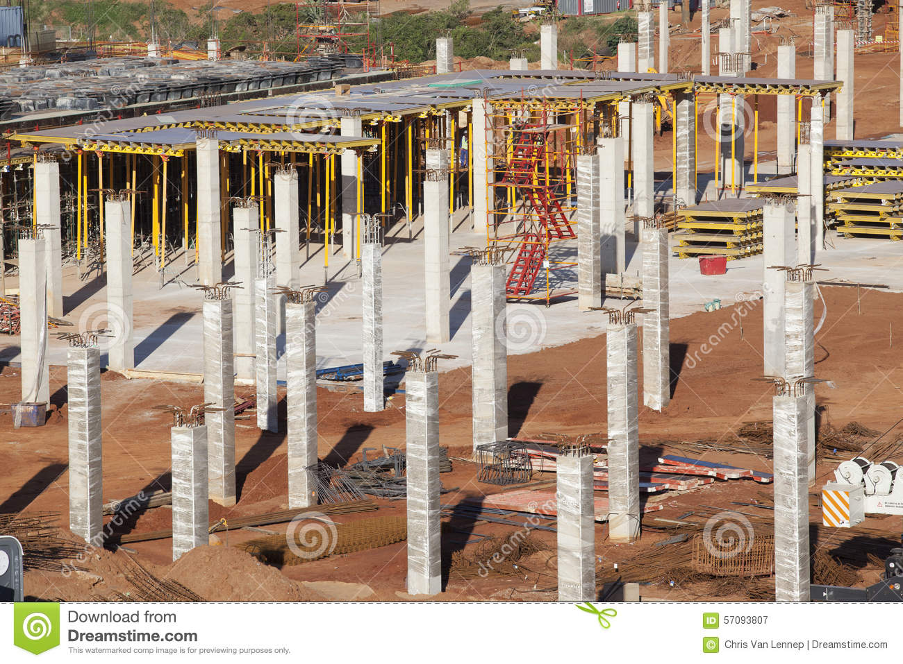 Metal Building Pillar : Building construction basement floor columns stock image