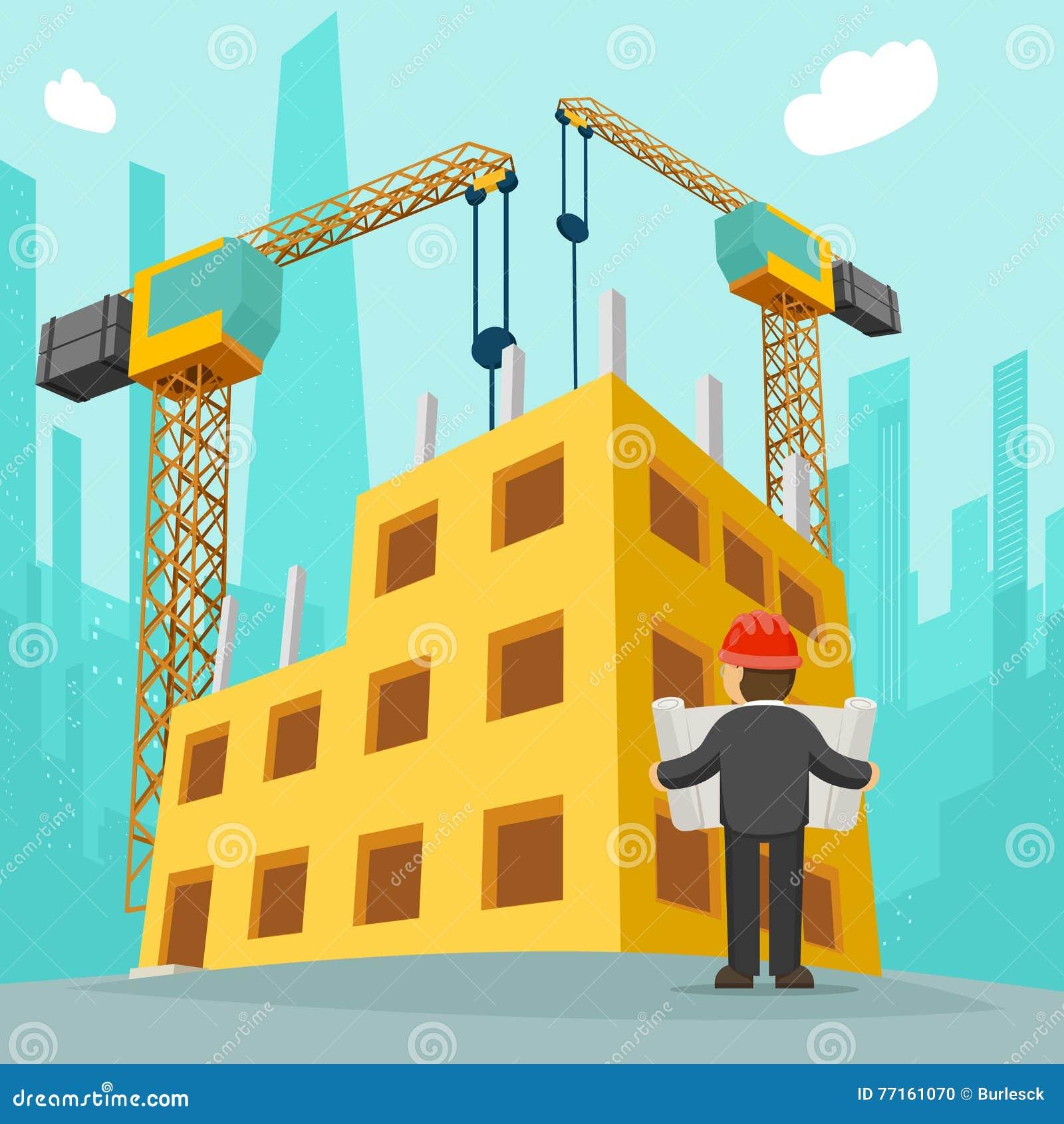 Building Construction Cartoon : Building construction cartoon vector illustration stock