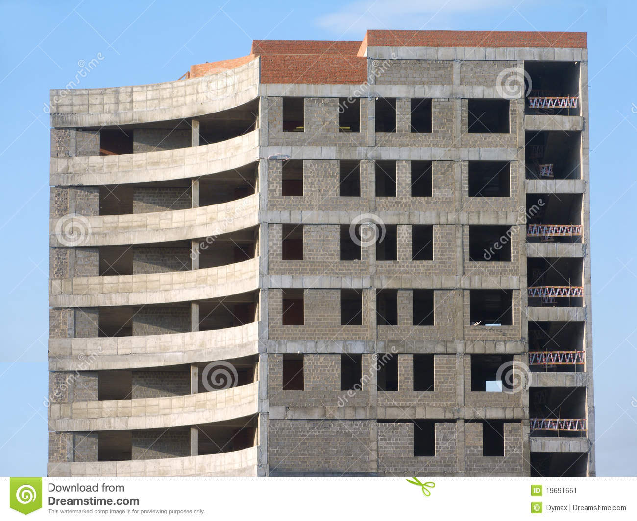 Concrete Building Construction : Building construction from concrete and bricks on stock