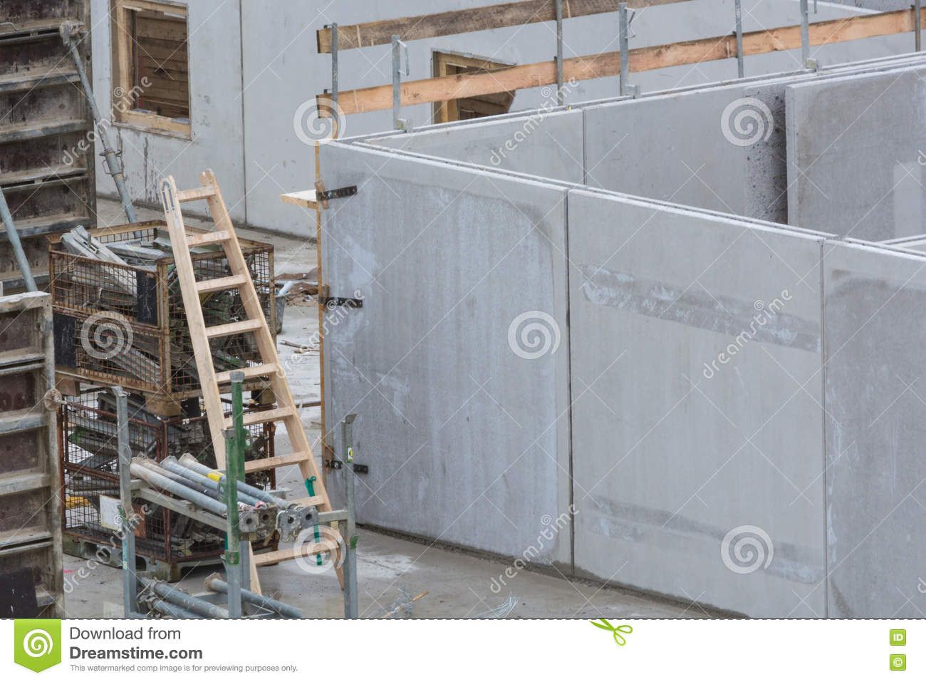 Building construction with concrete walls stock image for Precast concrete basement walls cost