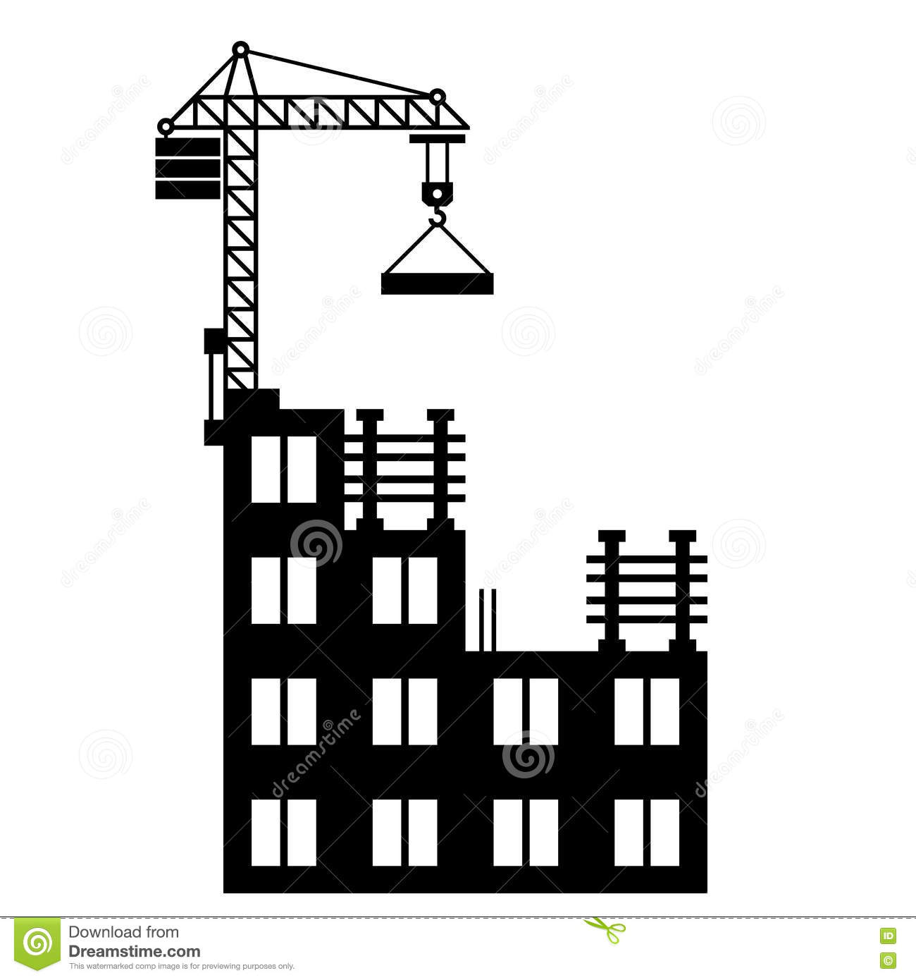 Building Construction With Crane On White Stock Vector ...
