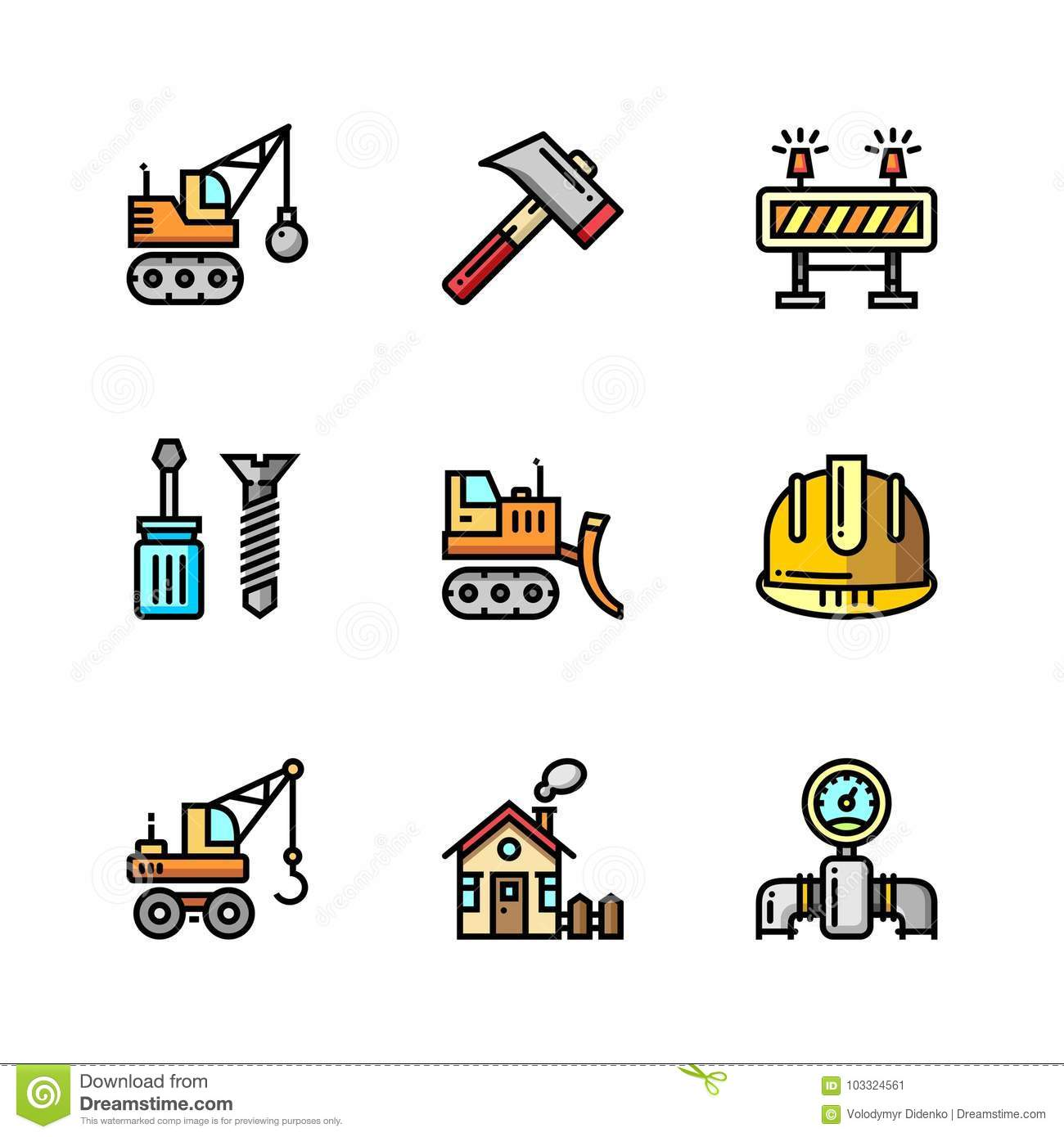 Building, Construction And Home Repair Tools Simple ...