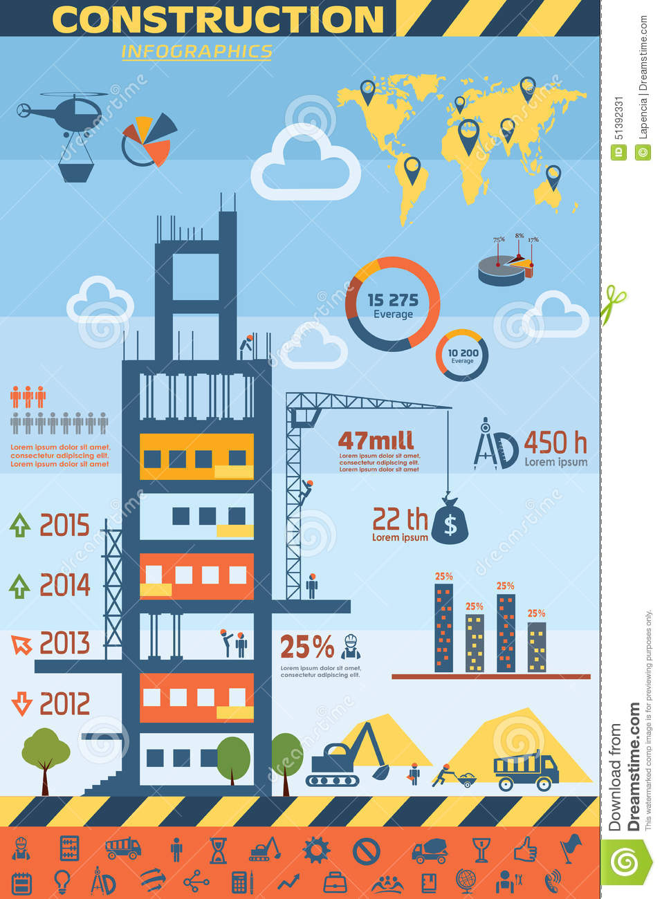 Building And Construction Infographics Stock Vector