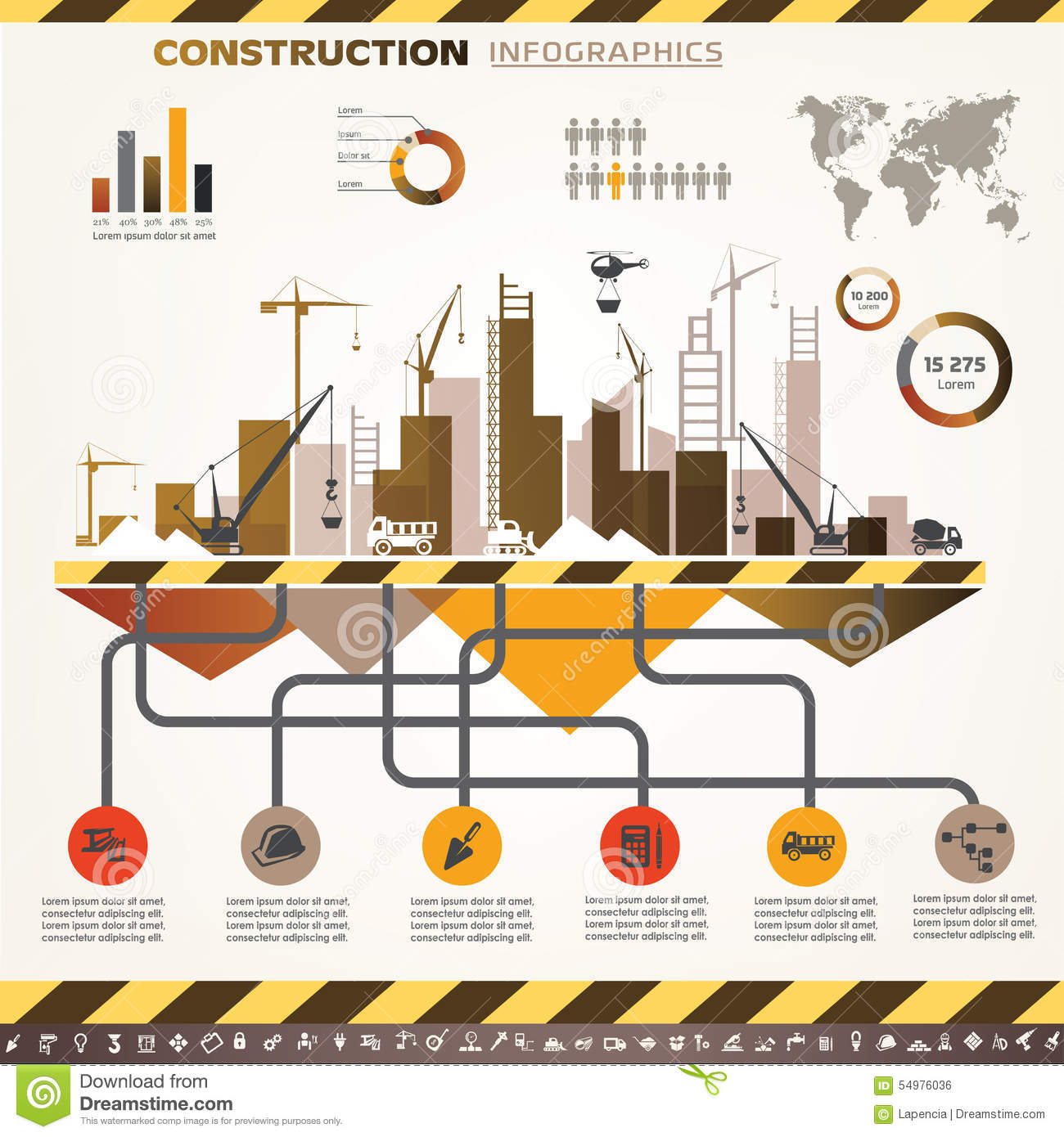 Building and construction infographics stock vector for Flowchart for building a house