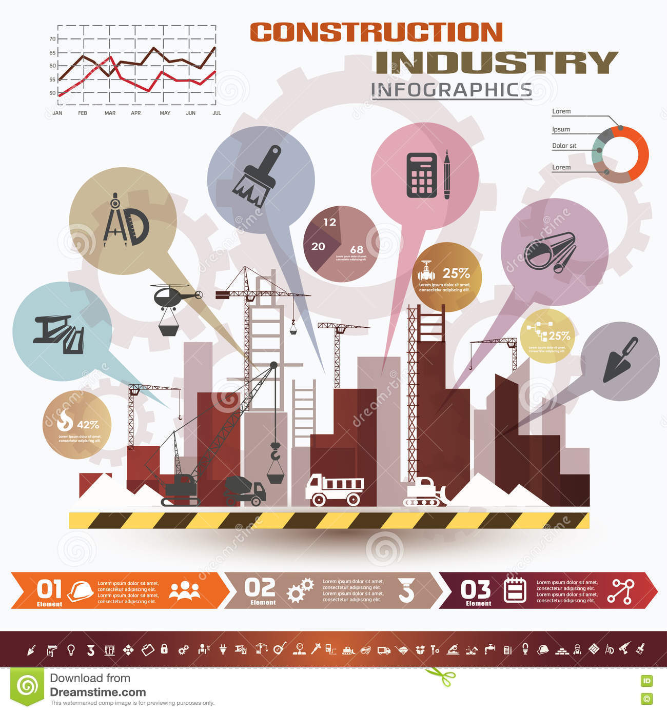 Building and construction infographics stock vector for Construction info