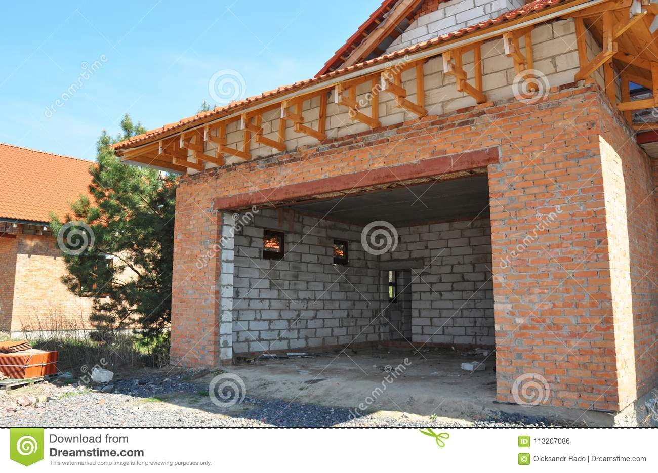 Building Construction New Unfinished House Garage Roofing And