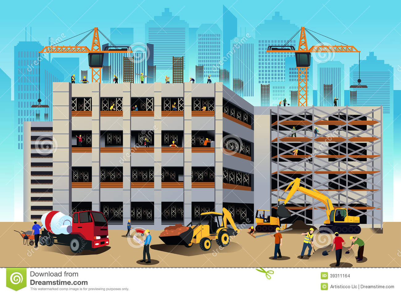 3d Building Drawing Building Construction Scene Stock Vector Image 39311164