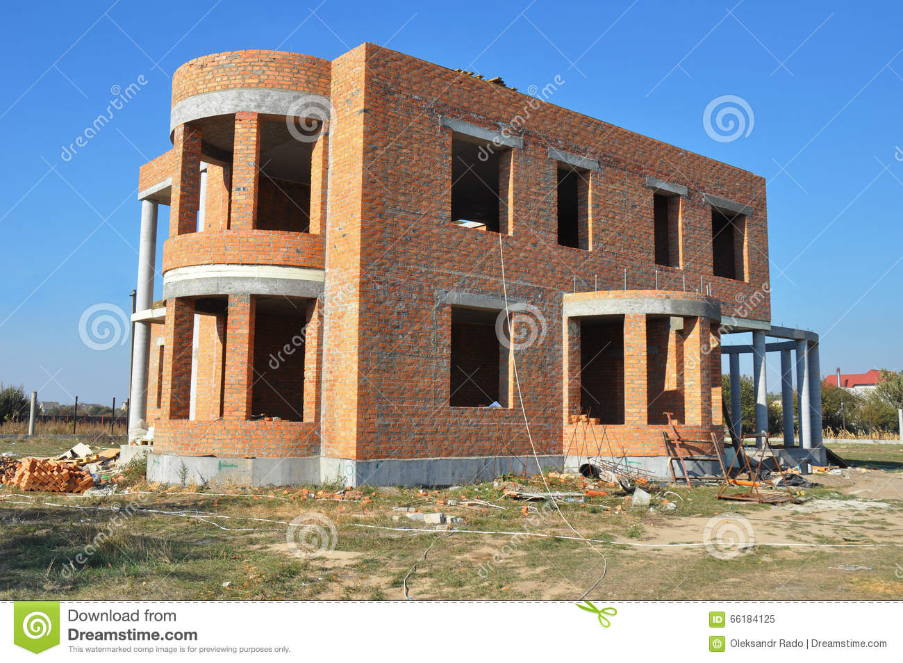Building construction site in progress to new red brick for House building website