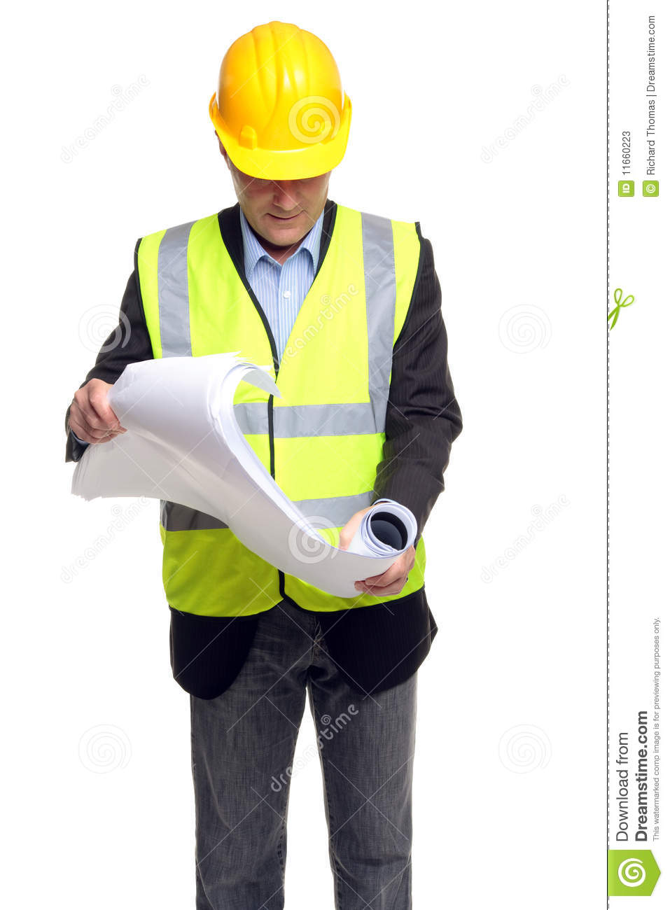 Building Contractor In Safety Gear With Plans Stock Image