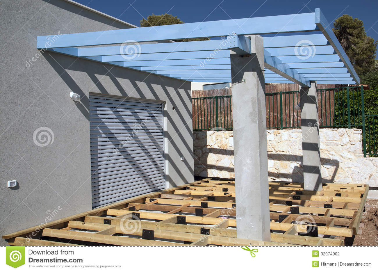 Building A Deck And Pergola Stock Photography Image
