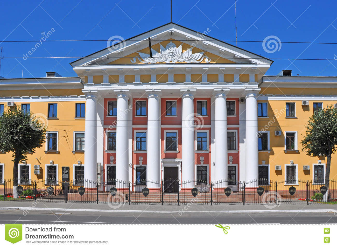The building of the Department of Internal Affairs with columns in Vladimir city