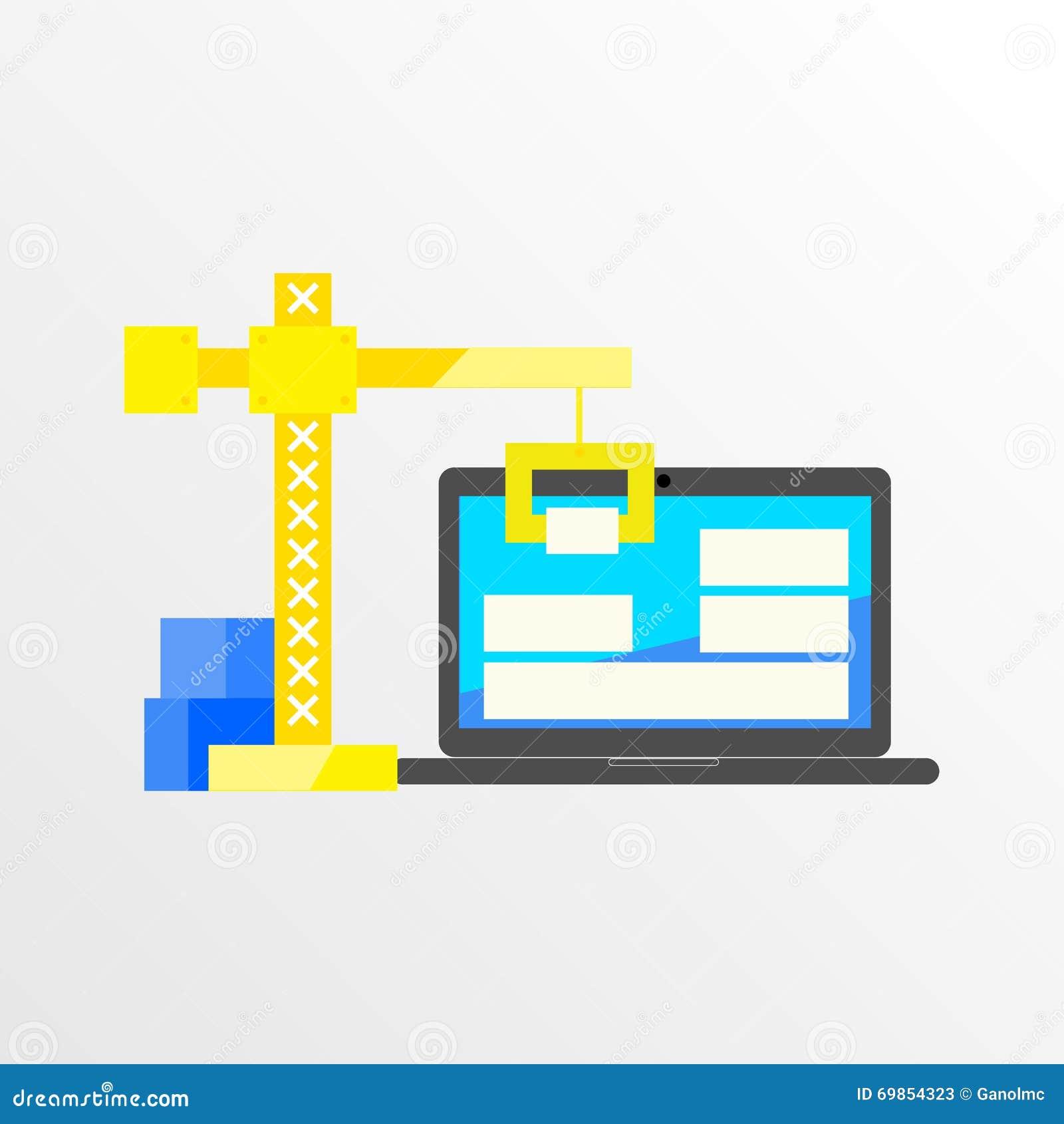 Building designing a website or application flat style Building designing app