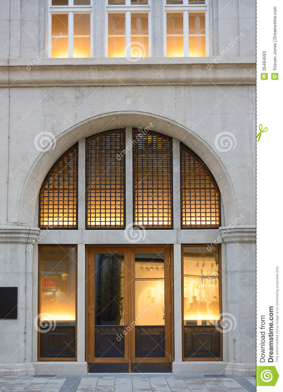 Building Entrance With Warm Light Stock Photos Image