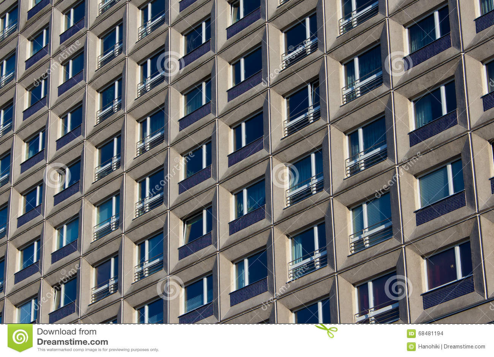 Exterior residential windows - Building Exterior Residential Building Facade Window Pattern Stock Photo