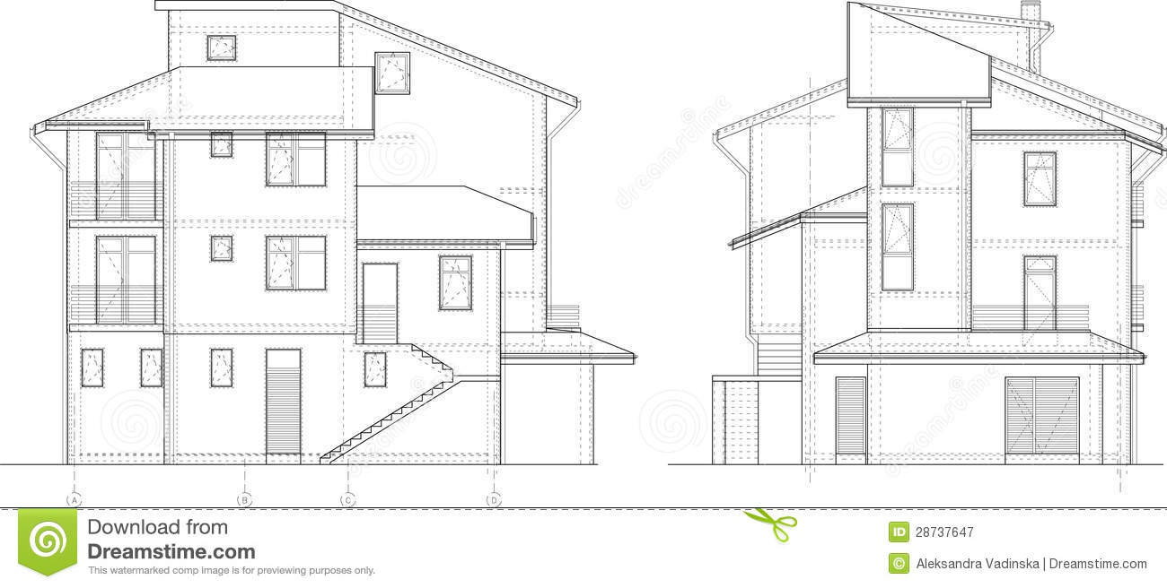 Building Facade Drawing Royalty Free Stock Photography Image