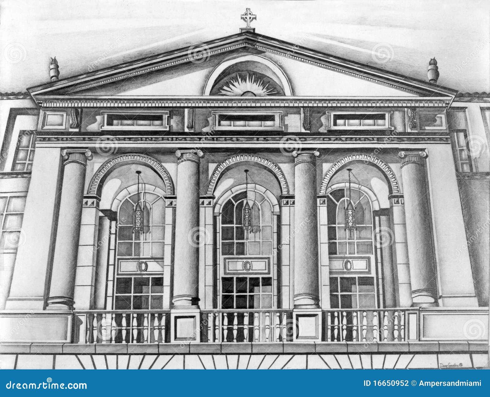 Building facade pencil sketch stock illustration - Architektur zeichnen ...