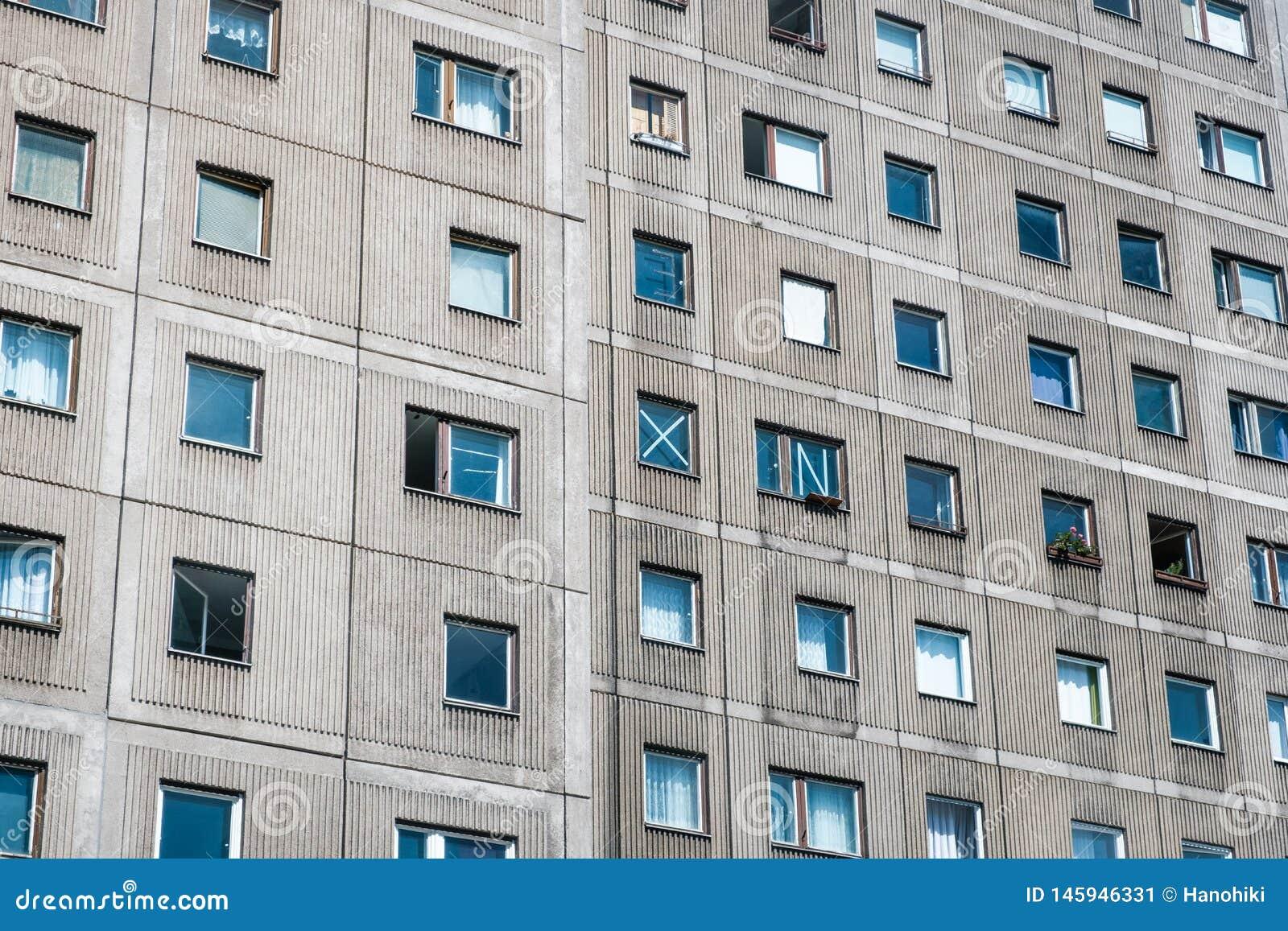 Building Facade, Plattenbau, Berlin - Precast Concrete Slabs House