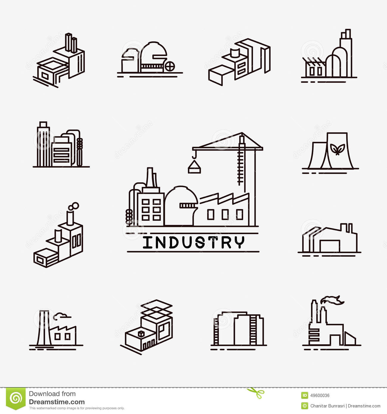 Graphic Design Elements Line : Building factory icons stock vector image of construction