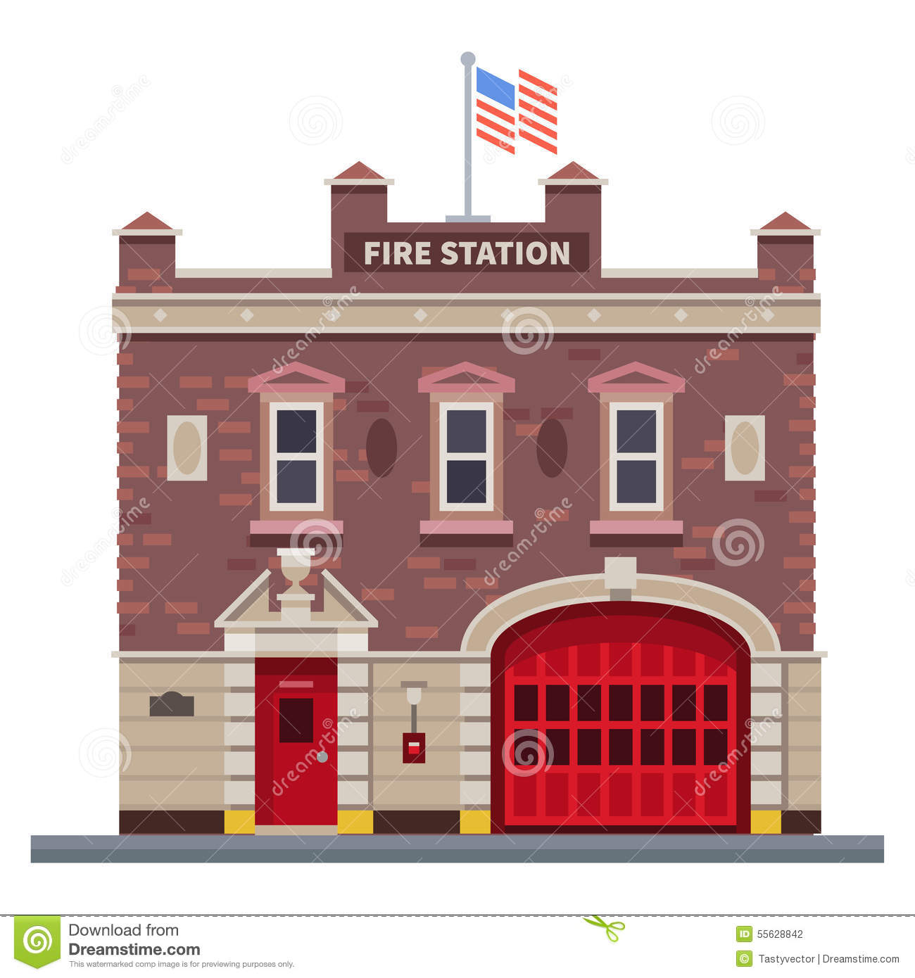 Building of fire station stock illustration image 55628842