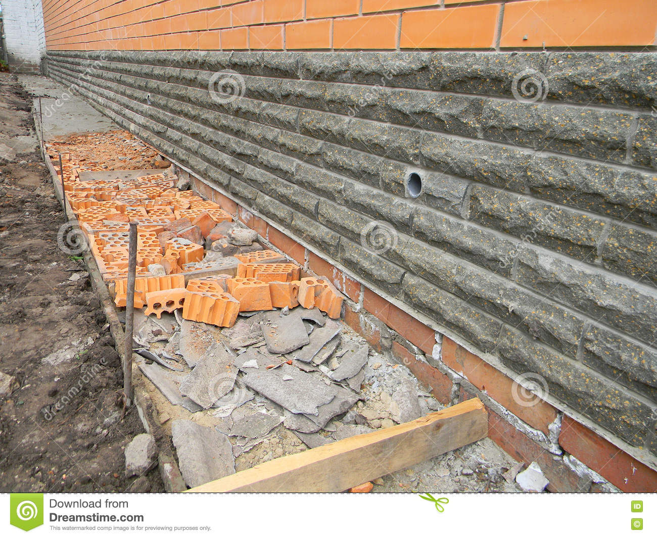 Building Foundation Waterproofing. New Construction Waterproofing Basement  Walls From Outside With Detail Of A