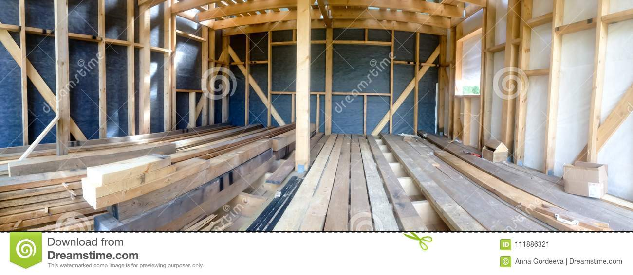 Building The Frame Of A Wooden House. Panoramic Picture Inside The ...