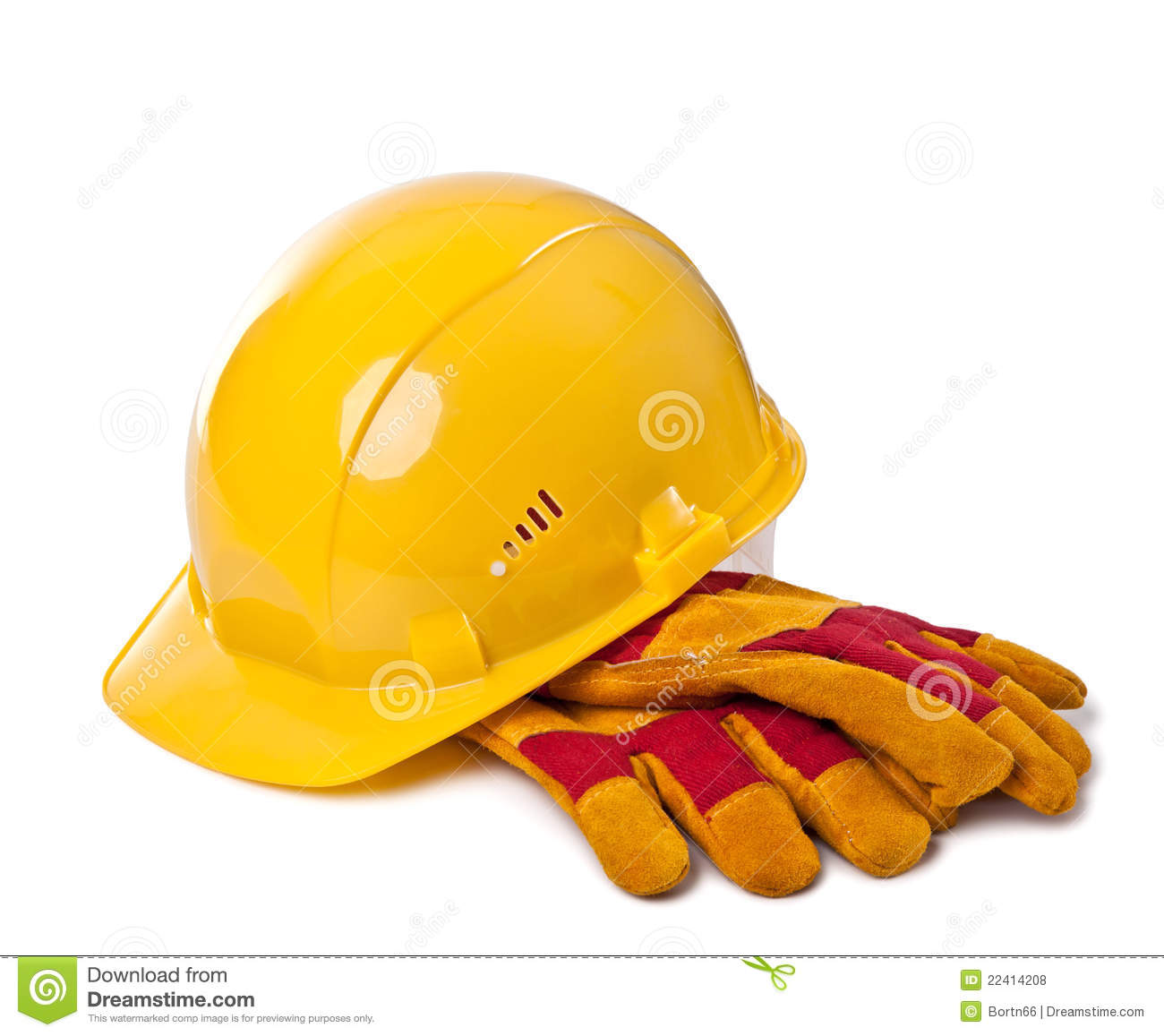 Building Helmet And Protective Gloves Stock Photo