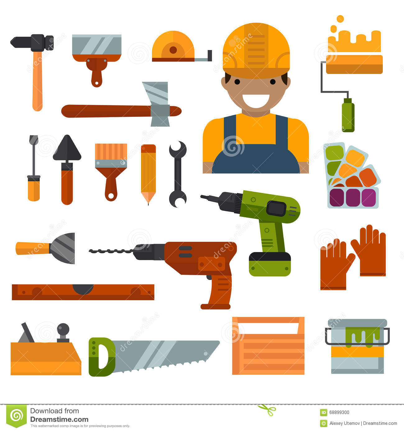 Building home repair and decoration works tools vector for Tools to build a house