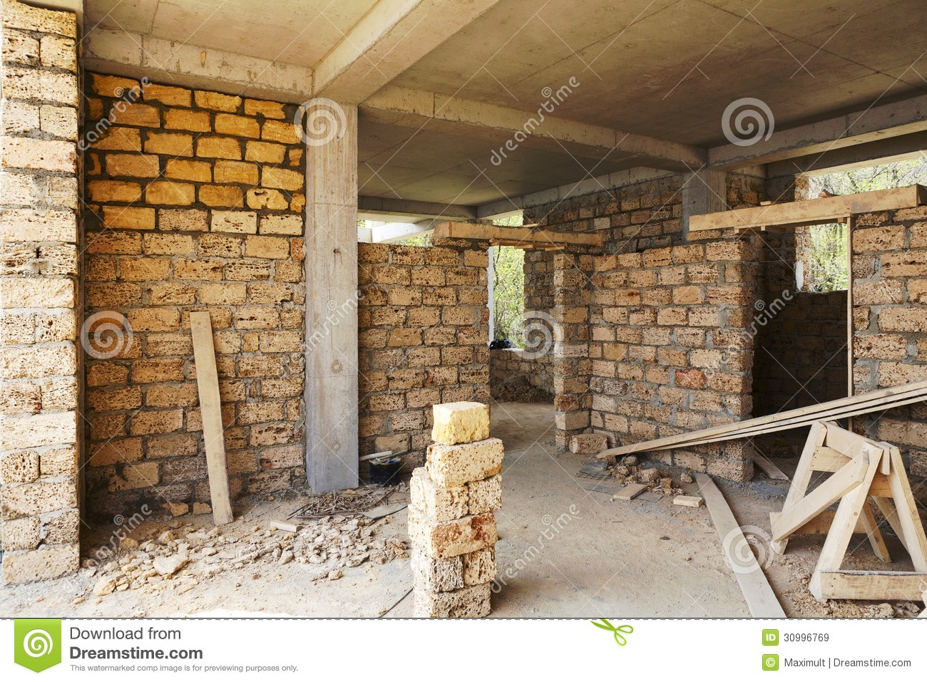 Building House Of Concrete Frame Stock Image Image Of