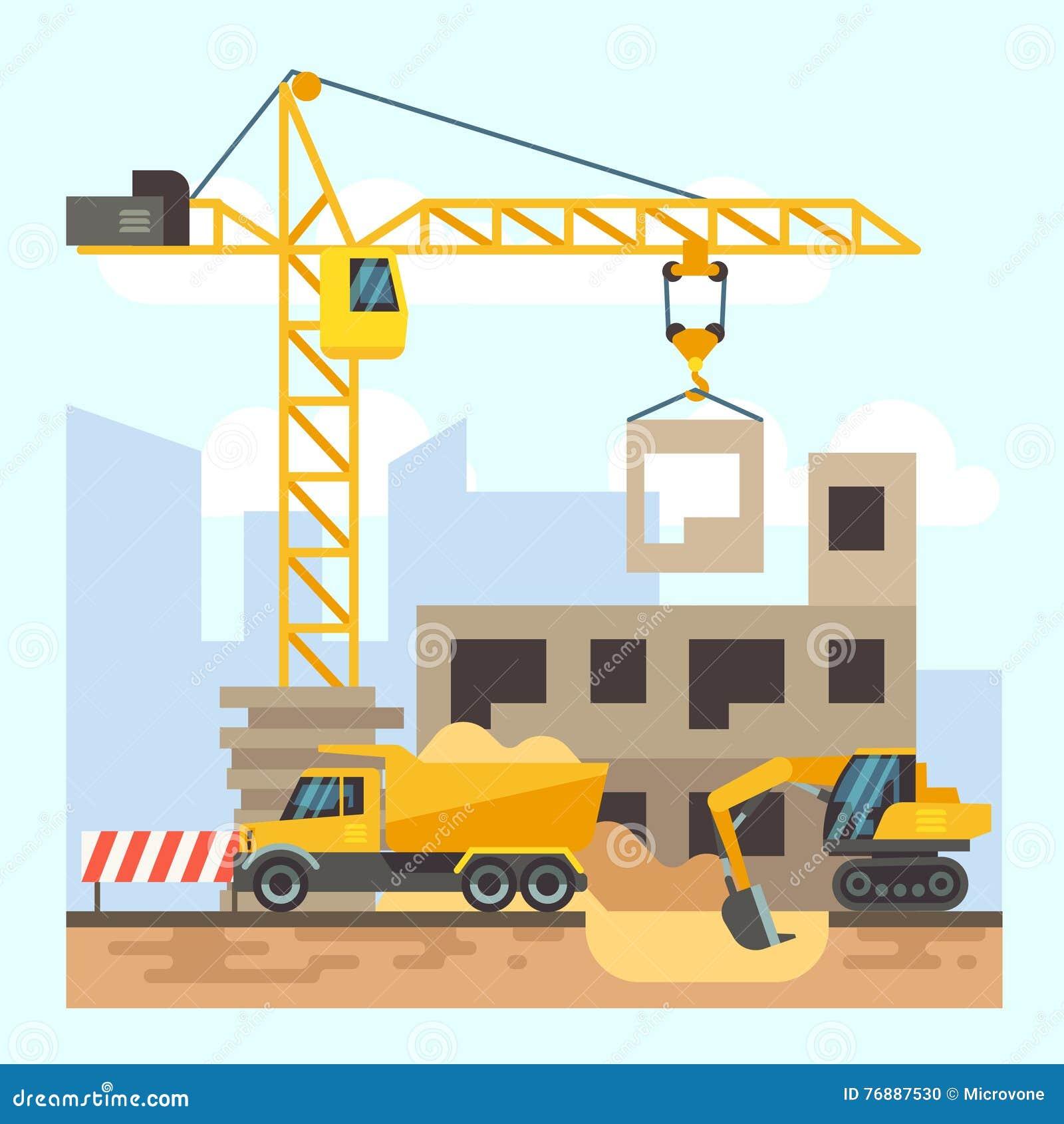 Building Construction Cartoon : City development concept build banner in flat style