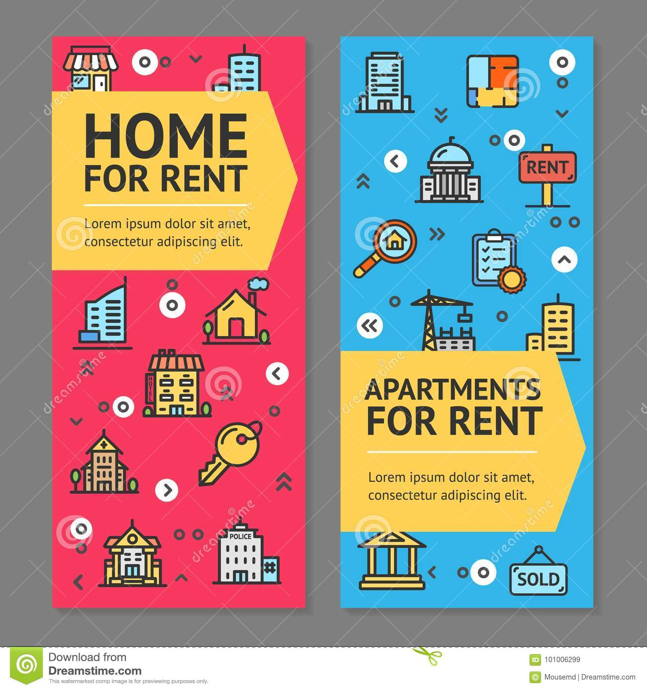 Apartment For Rent Flyer: Building House Or Home And Apartment For Rent Flyer Banner