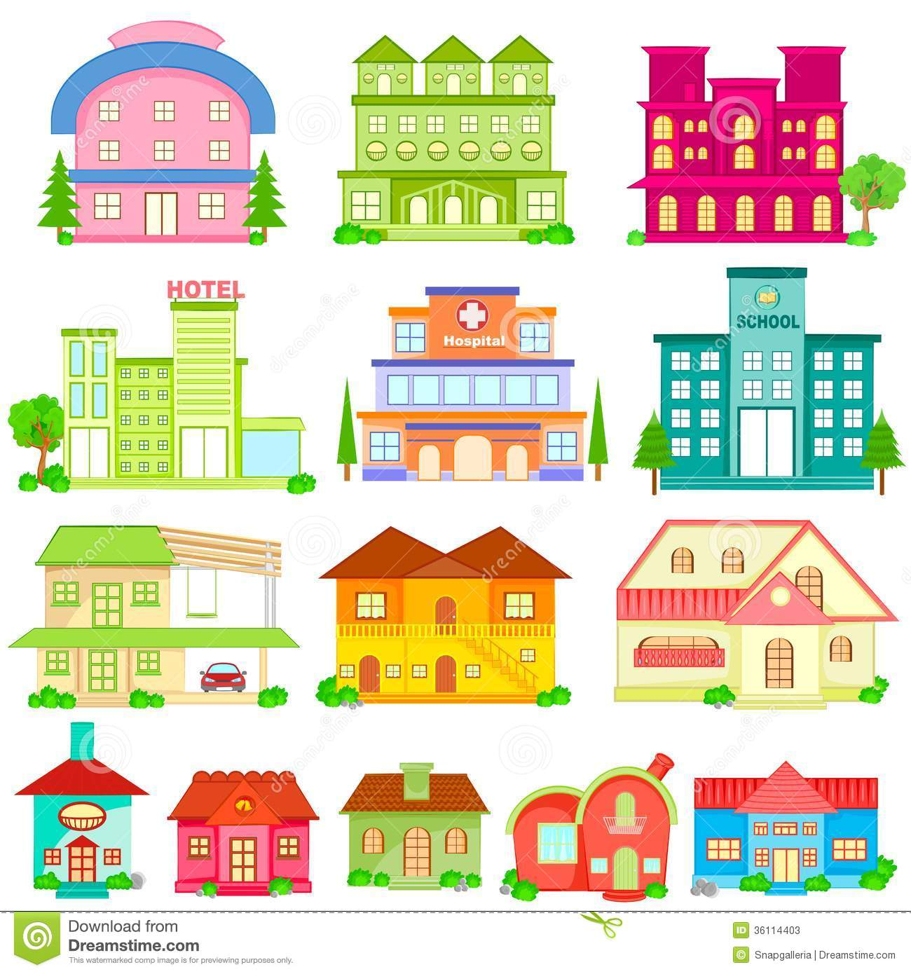 Building Icon Collection Stock Vector Illustration Of