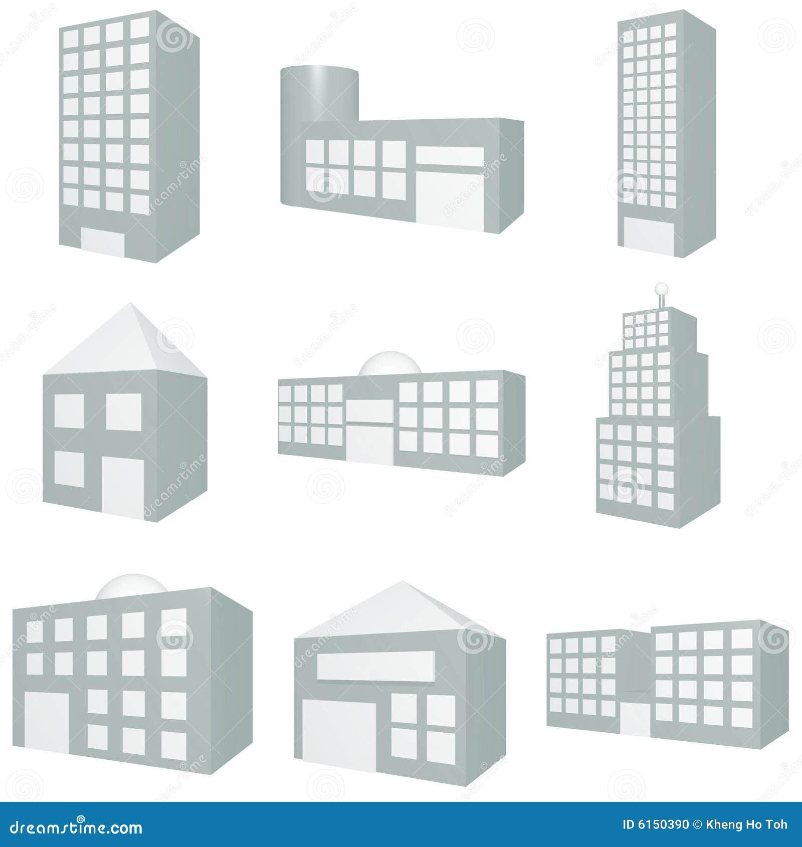 Building Icon Set Stock Illustration Illustration Of