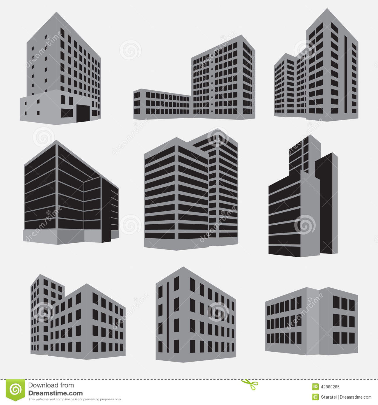Types Of Apartment Buildings: Building Icon Set. Vector Illustration Stock Vector
