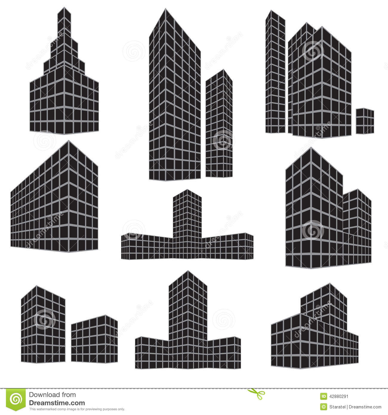 Different Types Of Buildings : Building icon set vector illustration stock