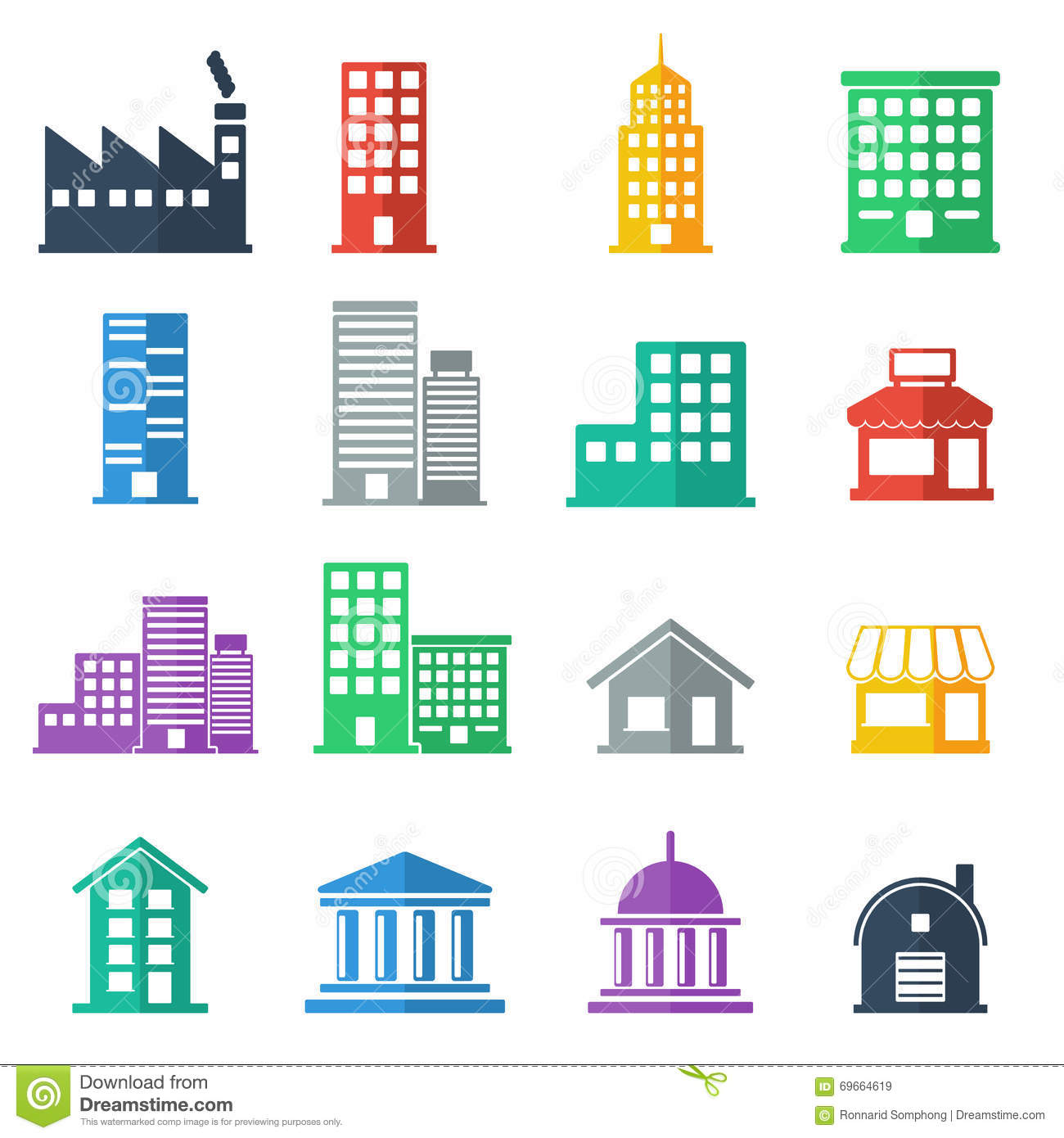 Building icons building flat design vector illustration for House builder online free