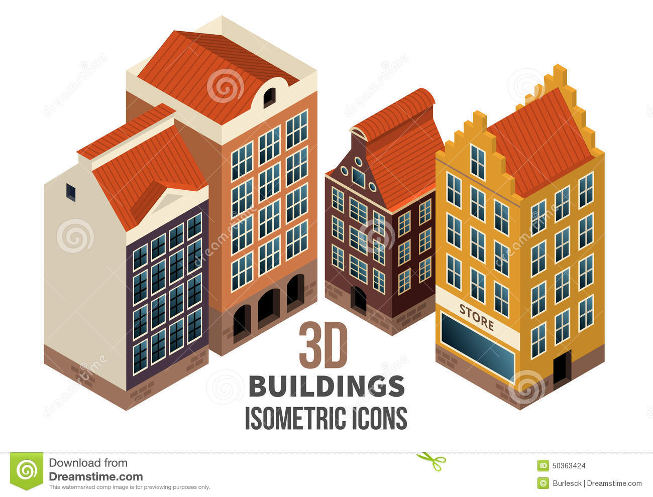 Stock Illustration Building Icons D Vector Set Residential Buildings Retail Store First Floor Illustration Image50363424 on 2d Floor Plans Office Building