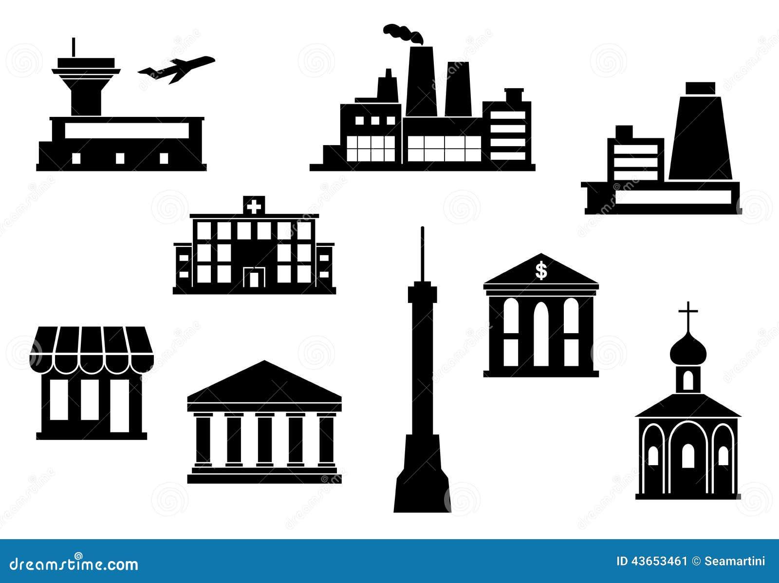 building icons set stock vector image 43653461. Black Bedroom Furniture Sets. Home Design Ideas
