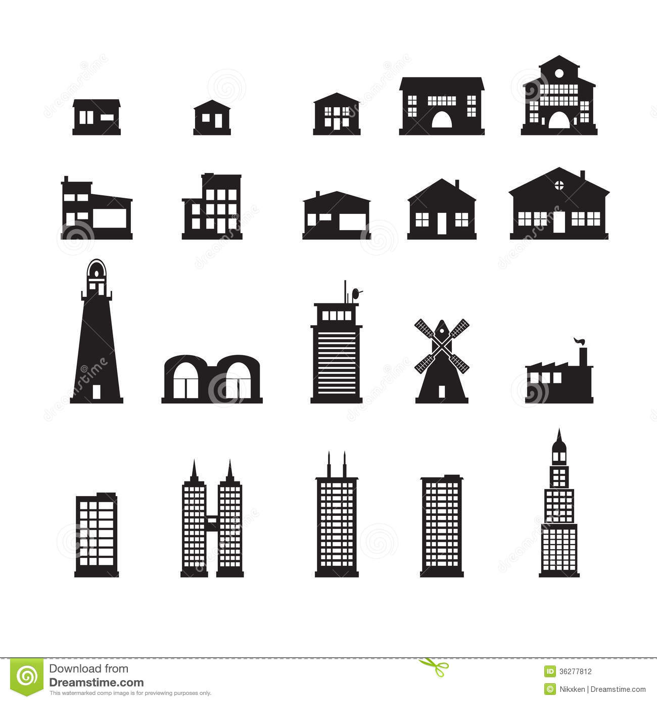 Garage door clip art - Building Icons Set Stock Photography Image 36277812