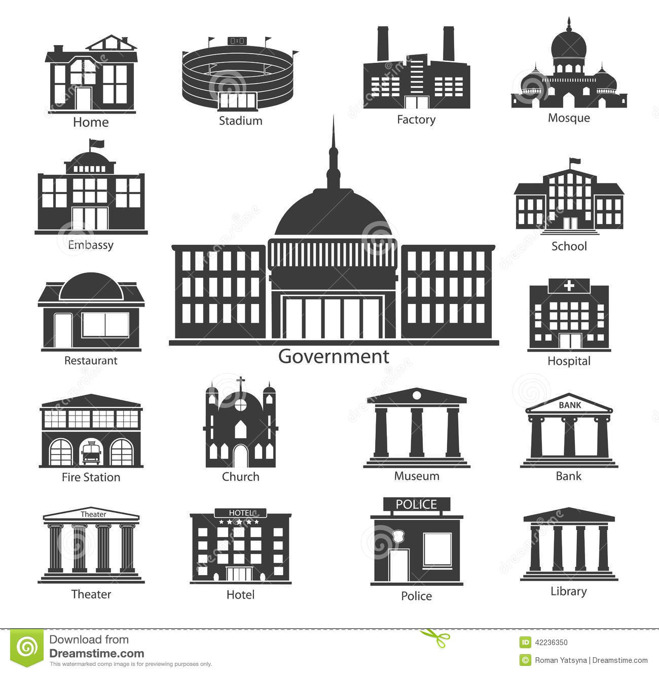 Government: Building Icons Set, Government Buildings Stock Vector