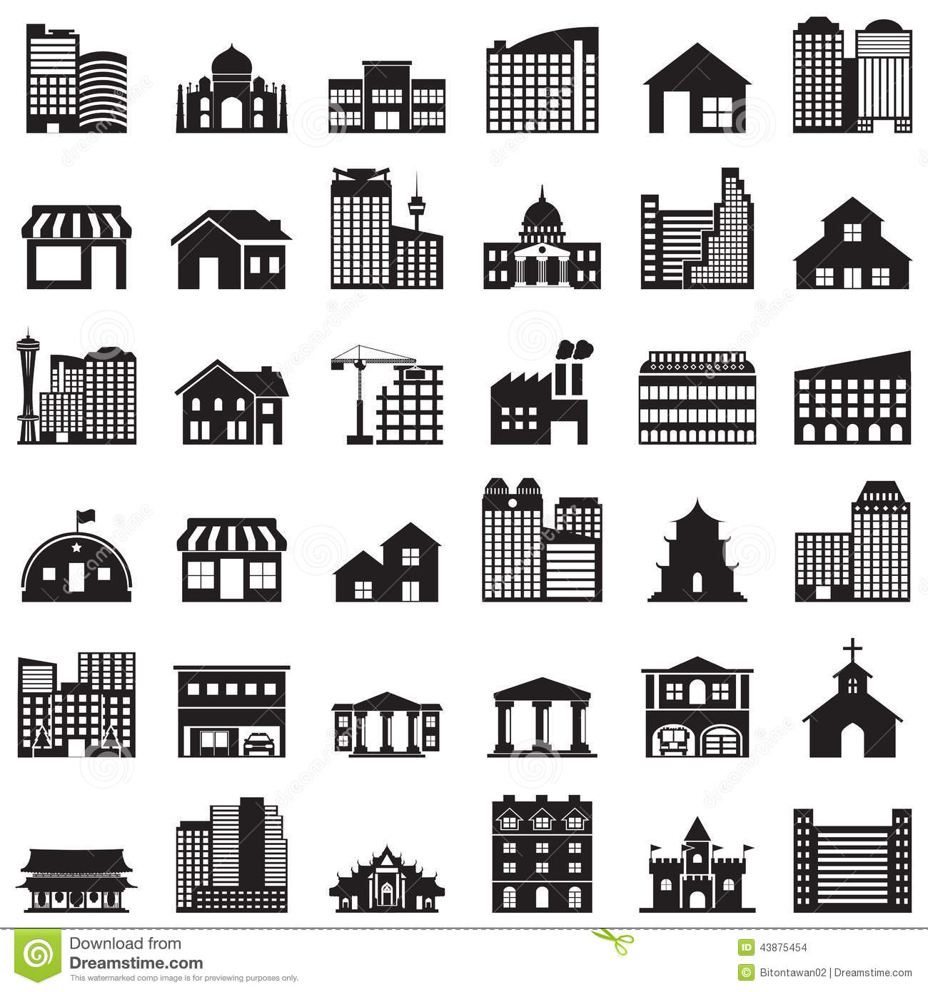 Building Icons Set Stock Vector Image 43875454
