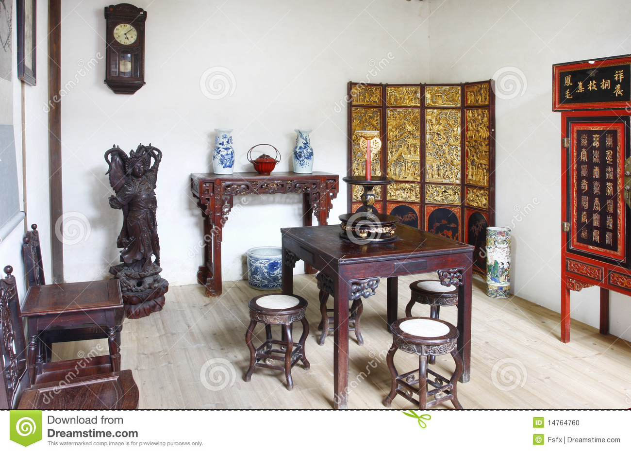 Building interior of chinese old house stock photo image for Chinese home interior designs images