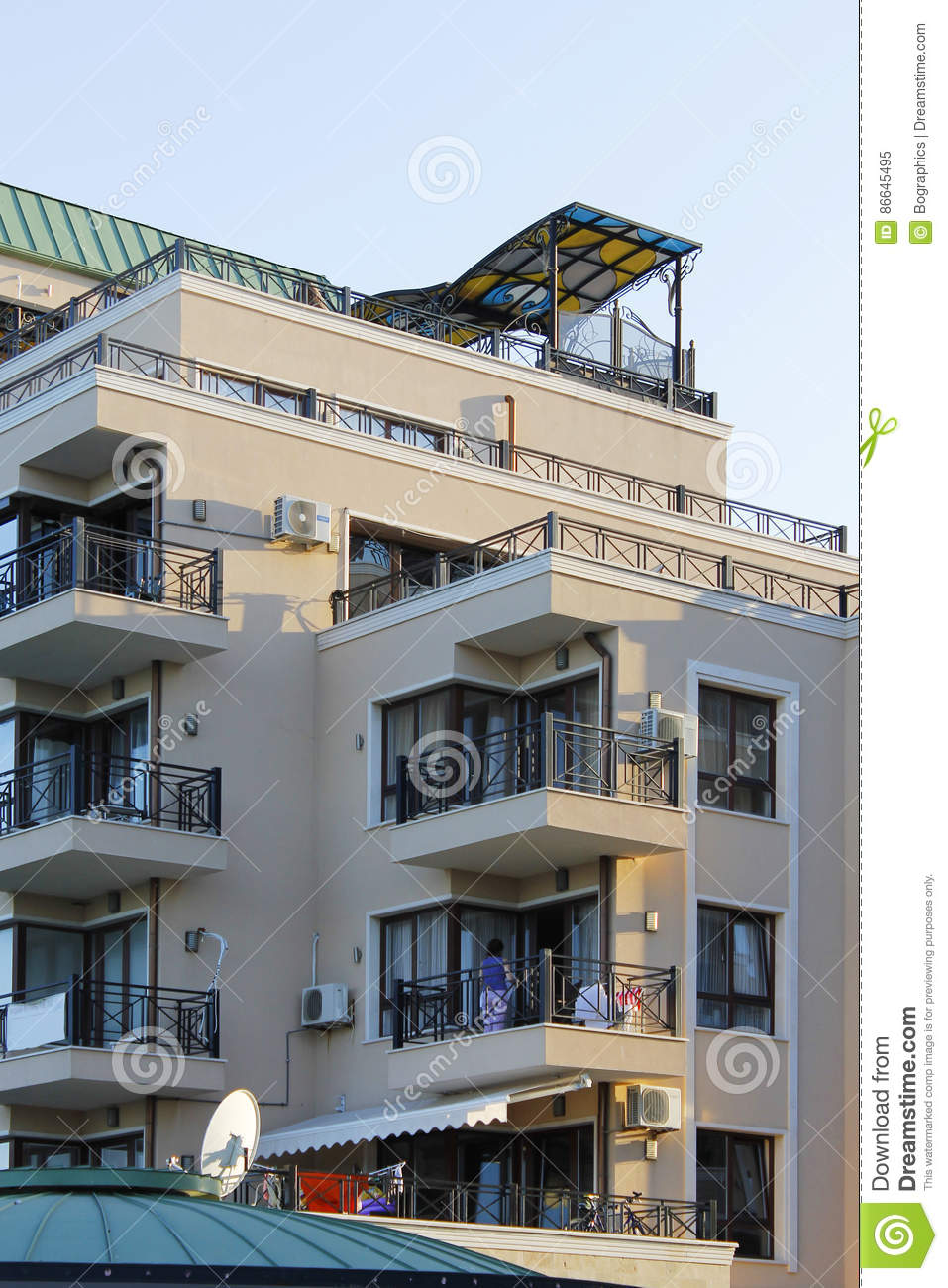 Building with luxury apartments and terraces