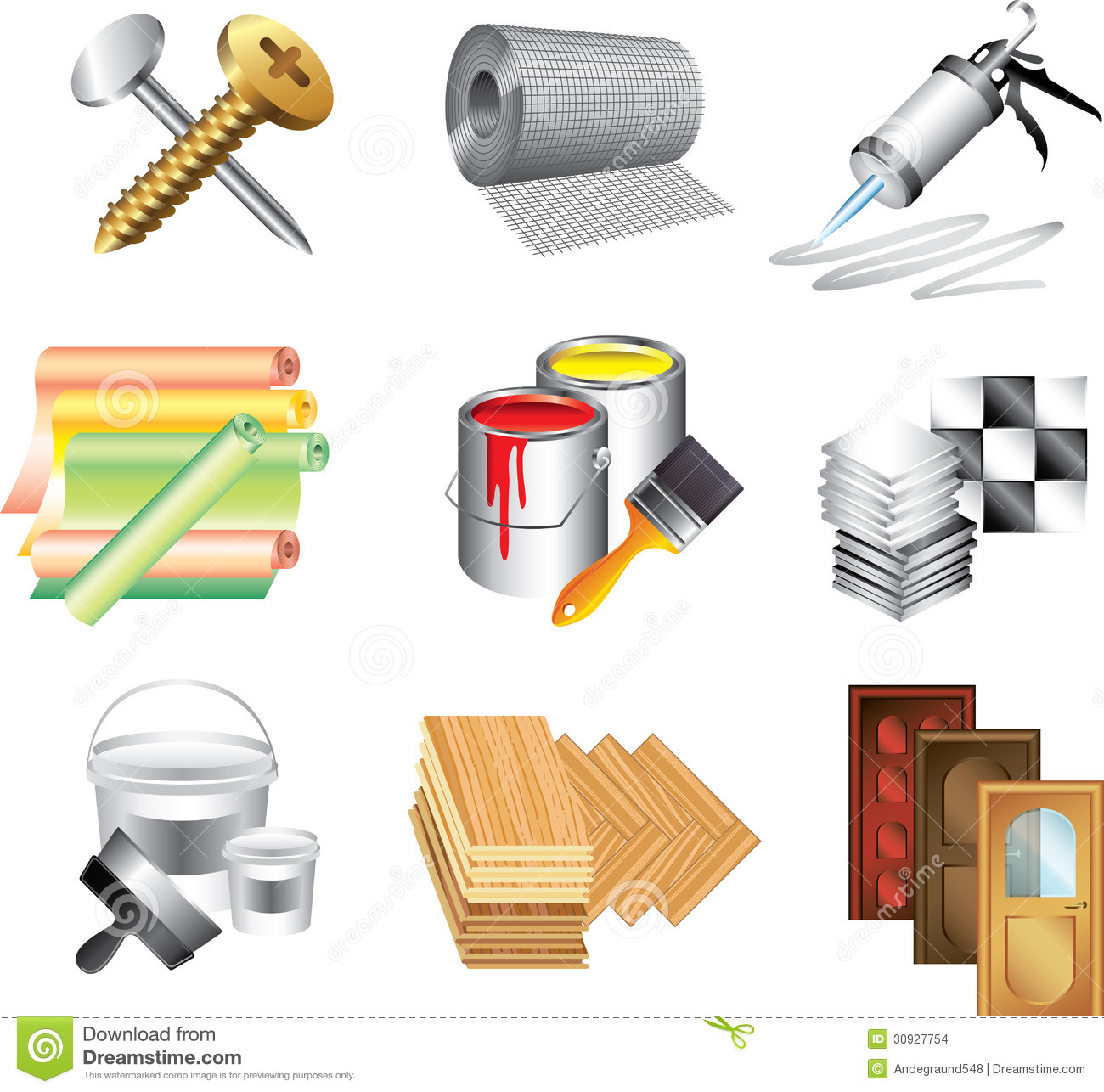 Building materials icons stock vector illustration of for Supplies to build a house