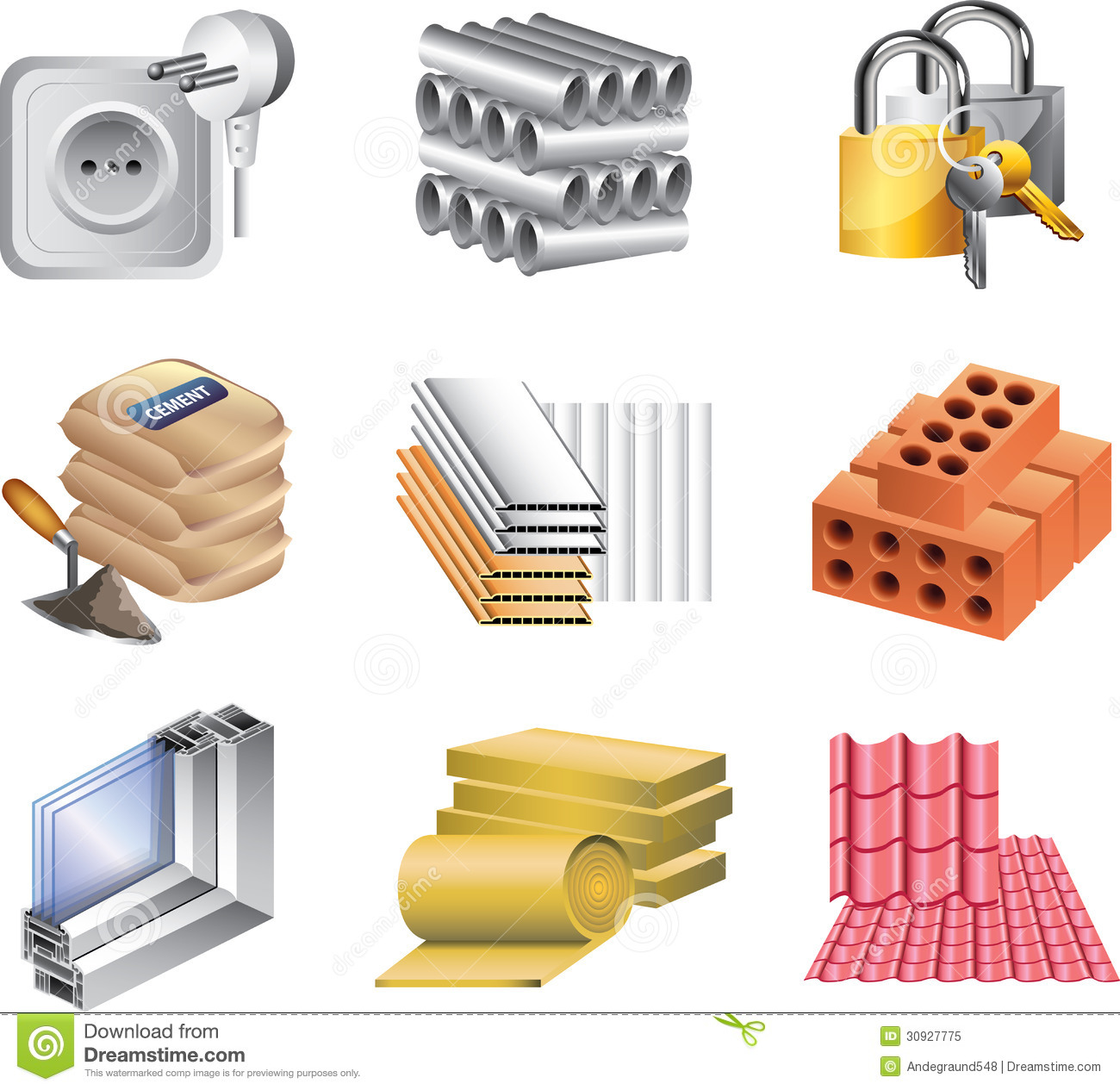 Building Materials Icons Royalty Free Stock Photo Image