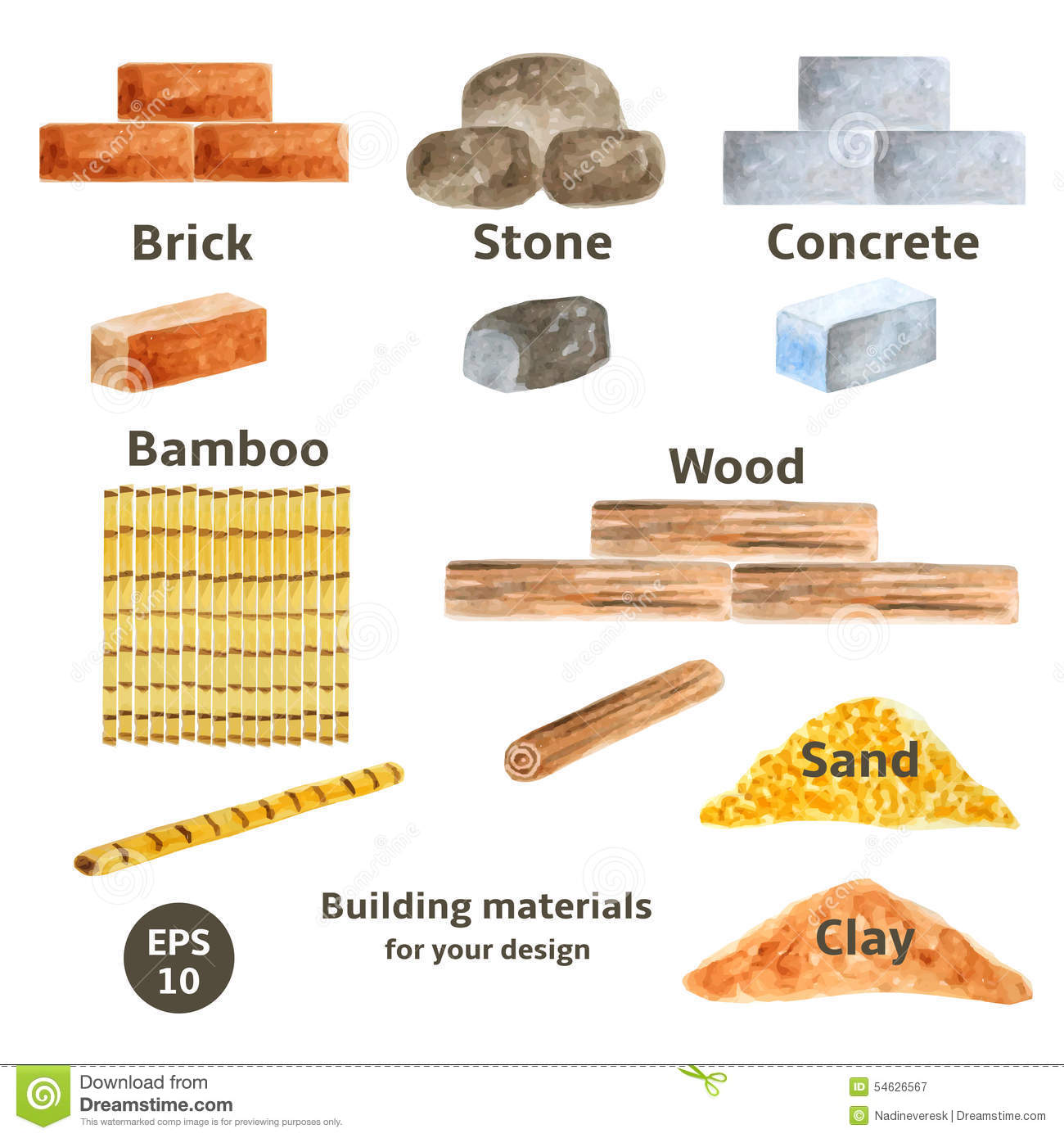 Building materials set stock vector illustration of for Materials to build a house list