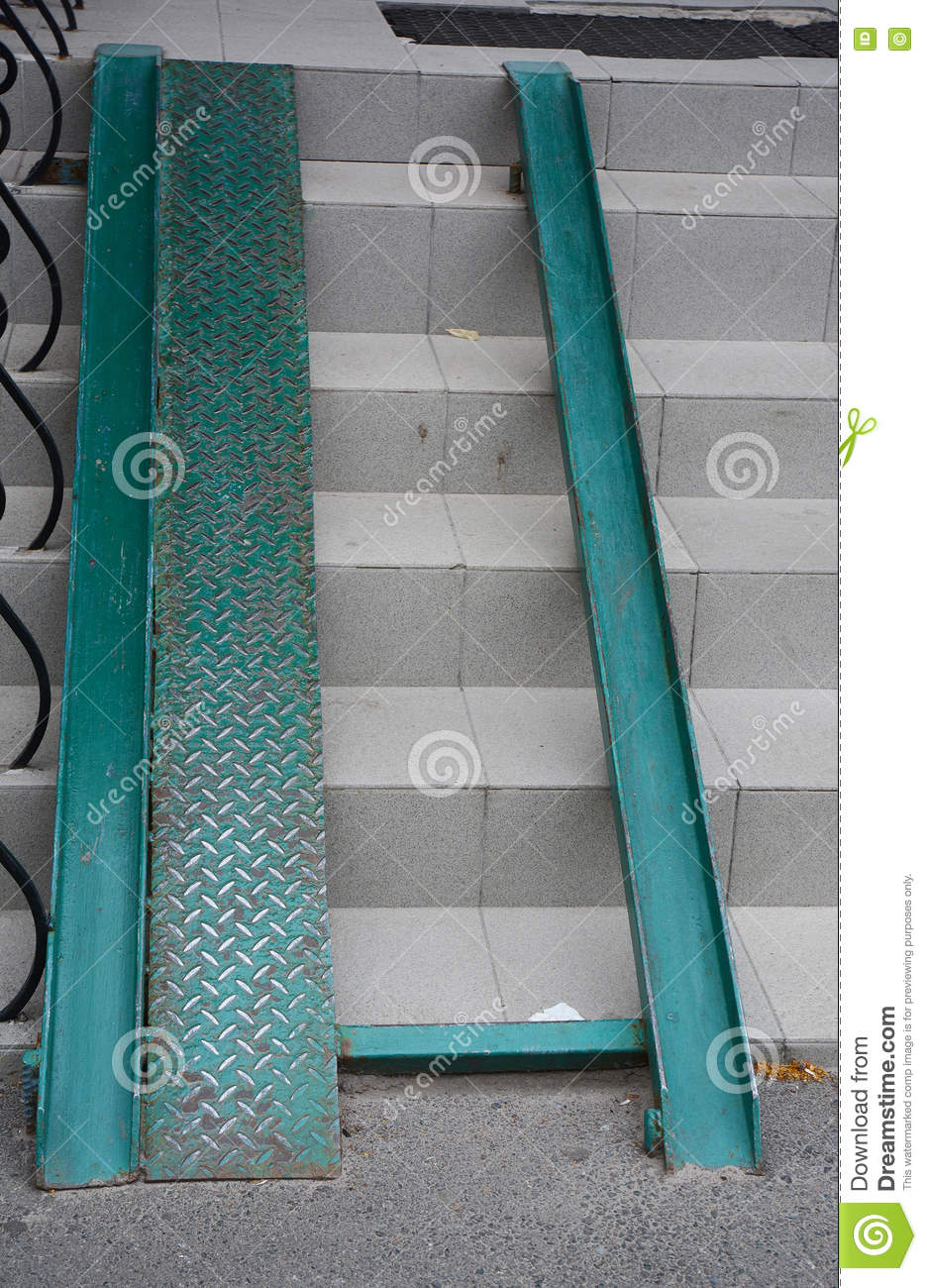 Building Metal Ramp For Wheelchair Entry And Steps Stock